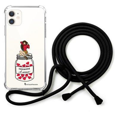 Coque cordon iPhone 11 cordon noir Dessin Concentré d'amour La Coque Francaise