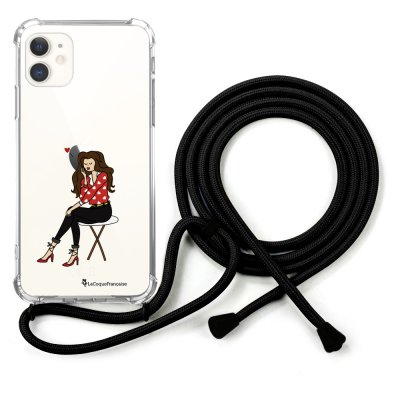 Coque cordon iPhone 11 cordon noir Dessin Pensée d'amour La Coque Francaise