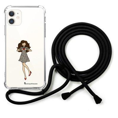 Coque cordon iPhone 11 cordon noir Dessin Coeur d'amour La Coque Francaise