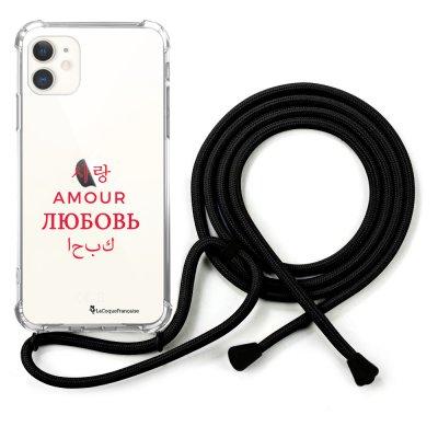 Coque cordon iPhone 11 cordon noir Dessin Amour universel La Coque Francaise