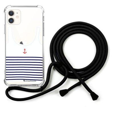 Coque cordon iPhone 11 cordon noir Dessin Le Francais La Coque Francaise