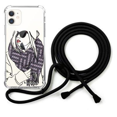 Coque cordon iPhone 11 cordon noir Dessin Echarpe La Coque Francaise