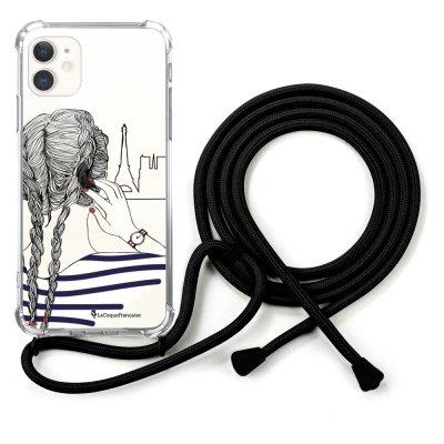 Coque cordon iPhone 11 cordon noir Dessin Tresses La Coque Francaise