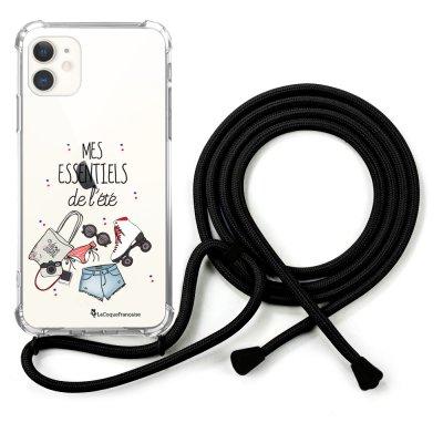 Coque cordon iPhone 11 cordon noir Dessin Essentiels Eté La Coque Francaise