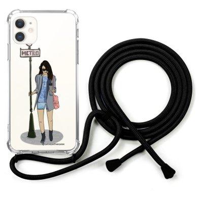Coque cordon iPhone 11 cordon noir Dessin Fille dans la ville La Coque Francaise