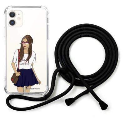 Coque cordon iPhone 11 cordon noir Dessin Fille branchée La Coque Francaise