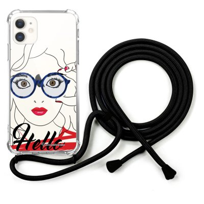 Coque cordon iPhone 11 cordon noir Dessin Hello La Coque Francaise