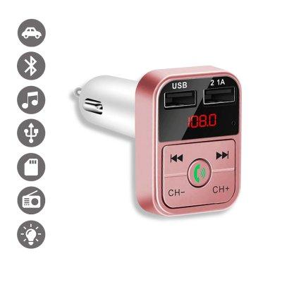 Transmetteur FM Bluetooth et chargeur voiture avec double USB Rose Gold 2,1A