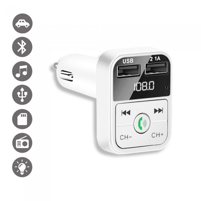 Transmetteur FM Bluetooth et chargeur voiture avec double USB Blanc 2,1A