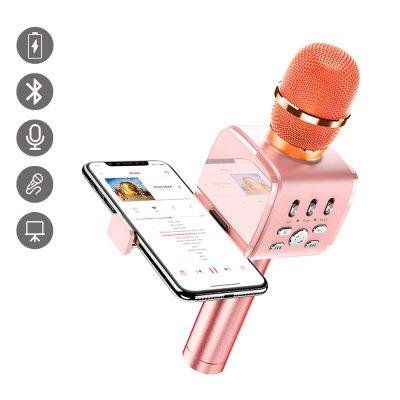 Micro Karaoké bluetooth avec support intégré pour téléphone Rose Gold