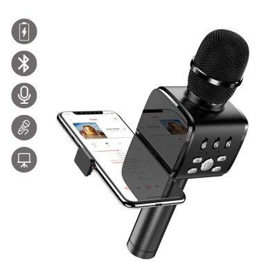 Micro Karaoké bluetooth avec support intégré pour téléphone Noir