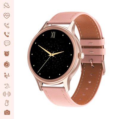 Montre connectée suivi activité sportive IP67 Rose Gold bracelet façon cuir