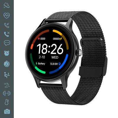 Montre connectée suivi activité sportive IP67 Noir bracelet métal