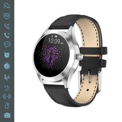 Montre connectée bluetooth IP68 avec podomètre, motineur de sommeil Noir bracelet façon cuir