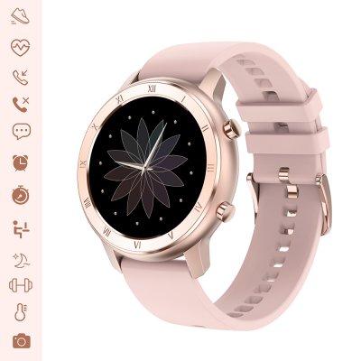 Montre connectée IP68 avec mesure de pression artérielle et suivi du sommeil rose gold avec bracelet en silicone