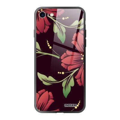 Coque iPhone 7/8/SE 2020 soft touch noir effet glossy Lys Bordeaux Design Evetane