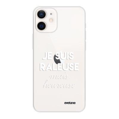 Coque iPhone 12 mini souple transparente Raleuse mais heureuse blanc Motif Ecriture Tendance Evetane