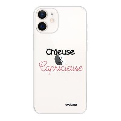 Coque iPhone 12 mini souple transparente Chieuse et Capricieuse Motif Ecriture Tendance Evetane