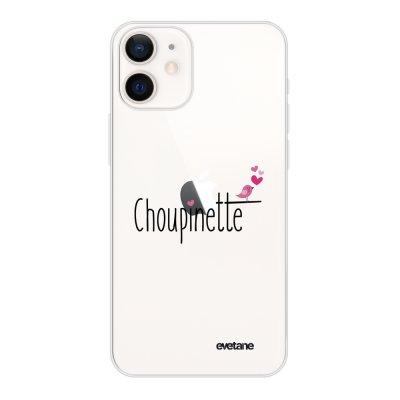 Coque iPhone 12 mini souple transparente Choupinette Motif Ecriture Tendance Evetane