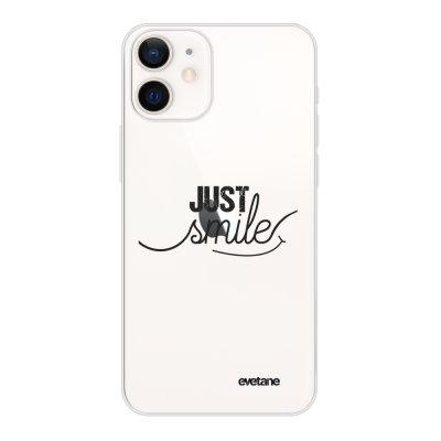 Coque iPhone 12 mini souple transparente Just Smile Motif Ecriture Tendance Evetane