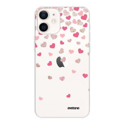 Coque iPhone 12 mini souple transparente Coeurs en confettis Motif Ecriture Tendance Evetane
