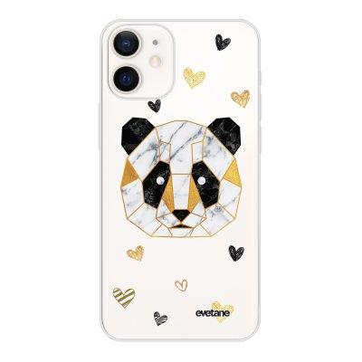 Coque iPhone 12 mini souple transparente Panda Géométrique Motif Ecriture Tendance Evetane