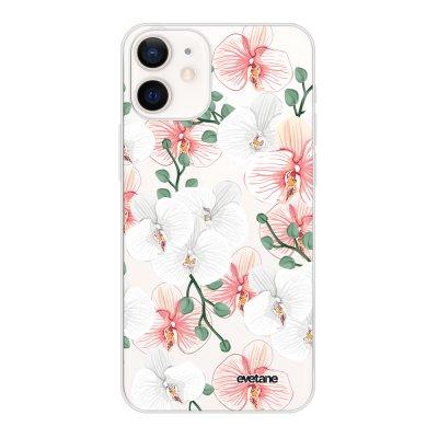 Coque iPhone 12 mini souple transparente Orchidées Motif Ecriture Tendance Evetane