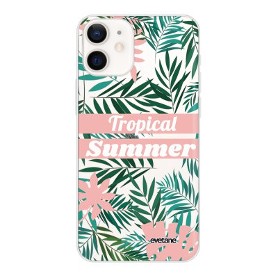Coque iPhone 12 mini souple transparente Tropical Summer Pastel Motif Ecriture Tendance Evetane