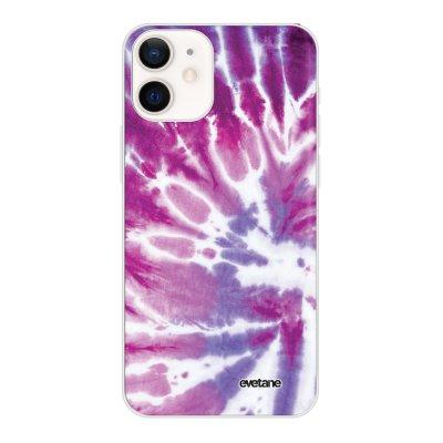 Coque iPhone 12 mini souple transparente Tie and Dye Violet Motif Ecriture Tendance Evetane