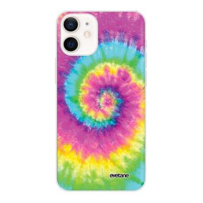 Coque iPhone 12 mini souple transparente Tie and Dye Rainbow Motif Ecriture Tendance Evetane