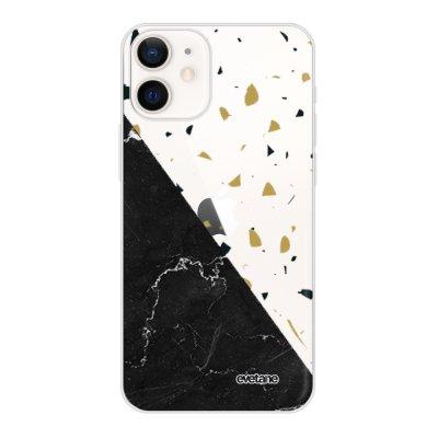 Coque iPhone 12 mini souple transparente Terrazzo marbre Noir Motif Ecriture Tendance Evetane