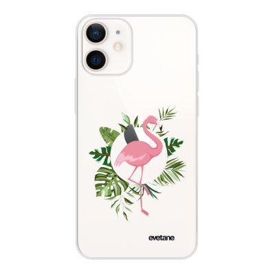Coque iPhone 12 mini souple transparente Flamant Rose Cercle Motif Ecriture Tendance Evetane
