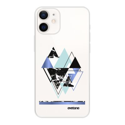 Coque iPhone 12 mini souple transparente Triangles Bleus Motif Ecriture Tendance Evetane