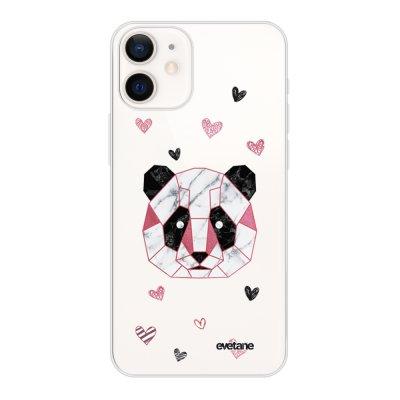 Coque iPhone 12 mini souple transparente Panda Géométrique Rose Motif Ecriture Tendance Evetane