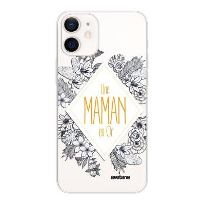 Coque iPhone 12 mini souple transparente Une Maman en or Motif Ecriture Tendance Evetane