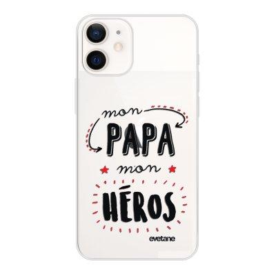 Coque iPhone 12 mini souple transparente Mon papa mon héros Motif Ecriture Tendance Evetane