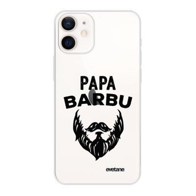 Coque iPhone 12 mini souple transparente Papa Barbu Motif Ecriture Tendance Evetane