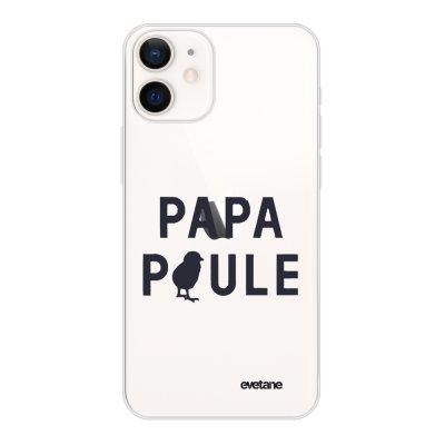 Coque iPhone 12 mini souple transparente Papa poule Motif Ecriture Tendance Evetane