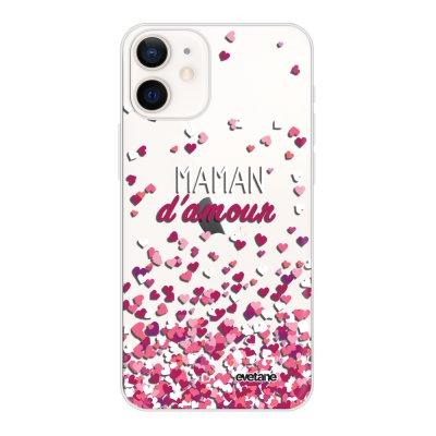 Coque iPhone 12 mini souple transparente Maman damour Motif Ecriture Tendance Evetane