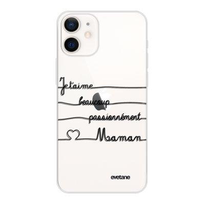 Coque iPhone 12 mini souple transparente Maman un peu beaucoup Motif Ecriture Tendance Evetane