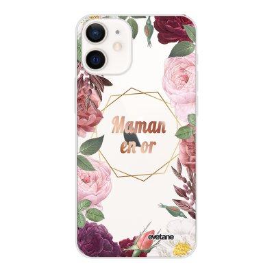 Coque iPhone 12 mini souple transparente Coeur Maman D'amour Motif Ecriture Tendance Evetane