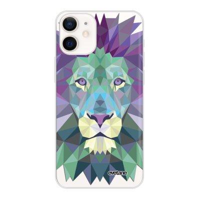Coque iPhone 12 mini souple transparente Lion Pastelle Motif Ecriture Tendance Evetane