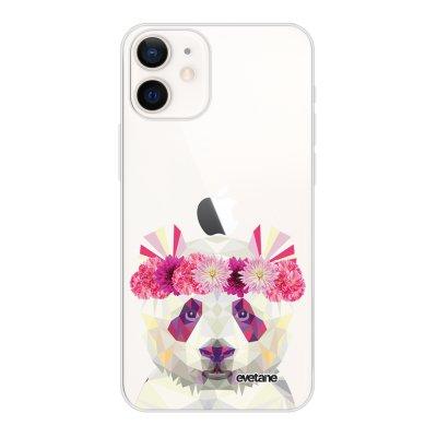 Coque iPhone 12 mini souple transparente Panda Couronne Motif Ecriture Tendance Evetane