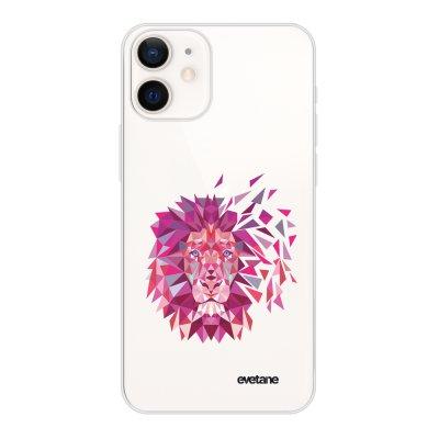 Coque iPhone 12 mini souple transparente Lion géométrique rose Motif Ecriture Tendance Evetane
