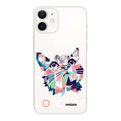 Coque iPhone 12 mini souple transparente Cat pixels Motif Ecriture Tendance Evetane