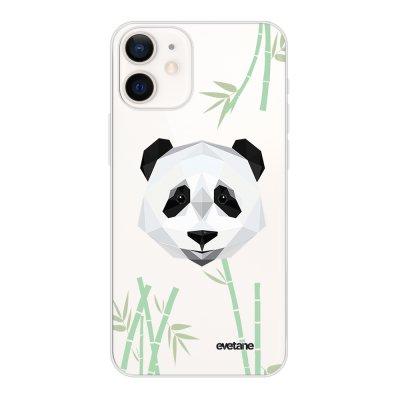 Coque iPhone 12 mini souple transparente Panda Bambou Motif Ecriture Tendance Evetane