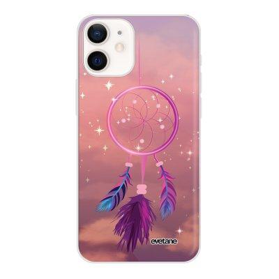 Coque iPhone 12 mini souple transparente Attrape rêve rose Motif Ecriture Tendance Evetane