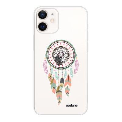 Coque iPhone 12 mini souple transparente Attrape rêve pastel Motif Ecriture Tendance Evetane