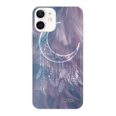 Coque iPhone 12 mini souple transparente Lune Attrape Rêve Motif Ecriture Tendance Evetane