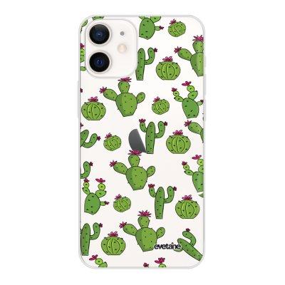 Coque iPhone 12 mini souple transparente Cactus Motif Ecriture Tendance Evetane